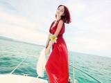 新款连衣裙批发 夏威夷 韩版V型裙沙滩裙 波西米亚 拖地裙