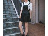 2014最新秋冬时尚百搭背带皮裙街拍显瘦欧美高端连衣裙高品质女装