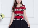 红色蕾丝假两件连衣裙夏季2015女装短袖A字裙大码显瘦短裙子