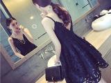 2015韩国女装蕾丝连衣裙性感大码露肩前后深V领吊带裙露背公主裙
