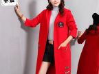 2015秋冬新款韩版贴布羊绒大衣冒衫外套女 长款女式修身毛衣开衫