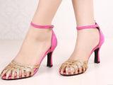 欧美风女凉鞋 甜美真皮包头亮片镂空高细跟女凉鞋子现货一件代发