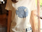 甜美森女系 小清新贴布绣民族鱼棉麻上衣 修身显瘦短袖T恤女