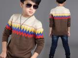 2014童装新款男童羊毛衫中大童针织毛衣圆领加厚韩版毛衣