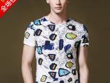 夏季新款男式印花t恤短袖纯棉t恤个性拼色圆领t恤修身潮男t恤批发