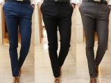 2014春装新款 男装休闲西裤男修身长裤子 纯色西裤男式
