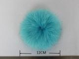 外贸标准环保染色 天蓝色 11-12CM Fox fur bal