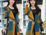 秋冬女装风衣外套 欧美女式时尚修身中长款西装领羊绒毛呢大衣