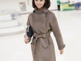 大衣 冬季女装外套 韩版腰带修身毛呢大衣女式中长款毛呢外套女装