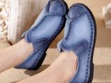 嫔妃丽人正手工缝制皮鞋真皮女鞋原创民族风平底牛皮复古软底单鞋
