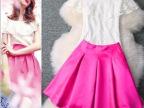 2014春夏新款明星同款荷叶边蕾丝上衣+百褶裙半身裙套装 连衣裙