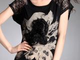 夏季新品韩版大码宽松蕾丝长款上衣 印花休闲短袖T恤 女批发