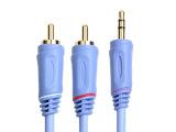 厂家直供 电脑音响线 3.5mm双莲花音频线 1分2 双rca音