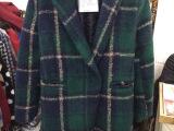 韩国东大门代购2014韩版修身显瘦羊毛呢格子大衣中长款风衣外套女