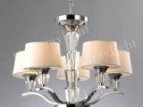 水立方五头吊灯 布艺灯罩水晶灯柱 现代客