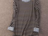 即墨小贾批发 日系 纯棉条纹中长款 打底T恤女式 拼接袖