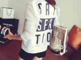 695#夏季新款女韩版 欧根纱拼接长袖外套字母开衫棒球服