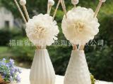 德化陶瓷 厂家直销 波点 条纹 通草花封釉陶瓷瓶 两款可选