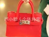 进口PU手提包手拎包斜挎包多功能儿童包包金属扣包单肩包两用包