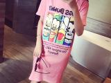 米希女装2015夏季长款短袖打底衫百搭迪斯尼卡通图案连衣t恤裙潮