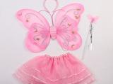 厂家直销 儿童套装蝴蝶翅膀三件套舞蹈服精灵翅膀歌手古装演出服
