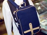 2014夏季潮男韩版帆布双肩背包学院风书包复古潮拉链带盖袋双肩包