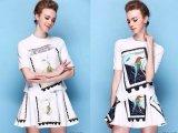 欧洲站 爆款不规则 蜂鸟印花上衣T + 印花半身裙 两件套 大半