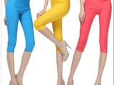 糖果色七分高腰梭织铅笔裤 彩色休闲裤小脚高弹力夏天打底裤