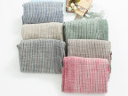 W807日系文艺双面色织条纹棉麻围巾6色入