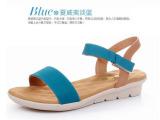 磨砂真皮拼色凉鞋女坡跟平跟大码防滑舒适凉鞋夏季