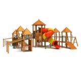 木制海盗船 不锈钢滑梯原生态拓展设施原木树屋滑梯儿童乐园爬网
