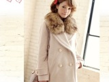 2013冬款女装VIVI杂志新款lena双排扣毛领羊绒大衣品牌外