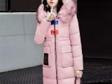 新款大毛领棉服女长过膝冬季外套女中长款韩版宽松棉袄面包服