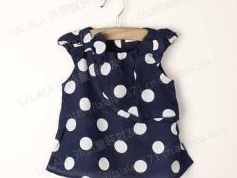外贸童装 夏款女童波点雪纺衫 2色入 N2201