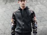 厂家批发代发2014秋装新款男士连帽开衫卫衣个性印花韩版卫衣外套