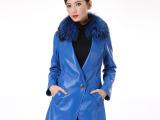 批发 女装 高级羊皮狐狸毛领 中长款休闲真皮皮草皮衣 实拍有模特