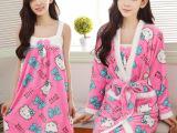秋冬季珊瑚绒睡衣女士长袖加厚法兰绒睡袍睡