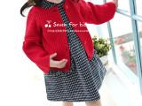 2015韩国品牌童装春季新品女童宫廷喇叭袖大红色毛衣儿童针织开衫