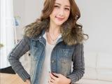 2014冬季新款韩版大毛领加厚棉衣 毛线袖牛仔外套女