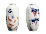 福满天下青花彩绘瓷瓶 手工堆雕青花斗彩工艺