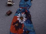 2015夏季新款女装波西米亚风蓝色印花雪纺大摆长裙女裙 送腰带
