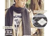 韩版羊毛线双面围巾秋天冬季保暖超长围脖女士加厚格子麻花针织