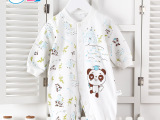 婴儿连身哈衣 婴安伴厂家直销2014春秋新款宝宝纯棉卡通熊猫爬服