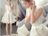 2014夏天最新款欧根纱女式连衣裙夏白色无袖露肩碎花蓬蓬背心裙子