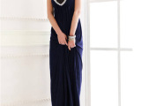 2012夏装新款 韩版新款宫廷奢华亮片点缀美背大U领长款洋装礼服