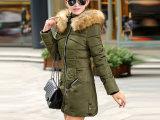 2014冬季新款棉衣女 韩版修身中长款棉袄 连帽带毛领纯色棉服