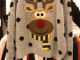 韩国东大门代购冬装新款学院风可爱圣诞刺绣麋鹿毛衣女波点针织衫