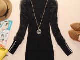 针织衫女式原创正品2013新款女装高弹力带挂件打底衫女士上衣大码