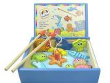 法国贵族木玩木制内置磁铁钓鱼玩具。亲子儿童早教益智。海洋生物