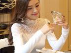秋冬新款韩版修身女t恤大码网纱蕾丝加绒长袖打底衫女
